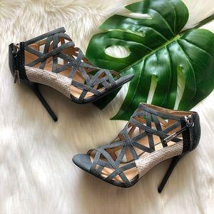 LAMB Black Flower Strappy Caged Peep Toe Heels